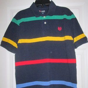 Chaps Boys Navy Blue Striped S/S Polo Top L 14/16
